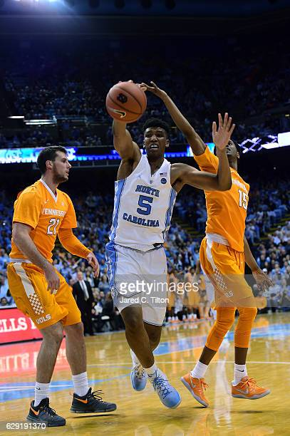 Tony Bradley of the North Carolina Tar Heels chases down a loose ball during their game against the Tennessee Volunteers at Dean Smith Center on...
