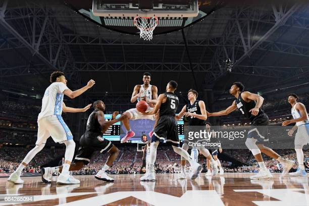 Tony Bradley of the North Carolina Tar Heels goes for a rebound during the 2017 NCAA Men's Final Four National Championship game against the Gonzaga...