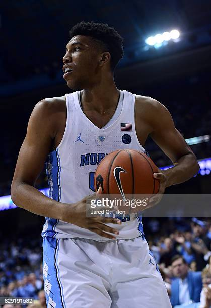 Tony Bradley of the North Carolina Tar Heels looks on during their game against the Tennessee Volunteers at Dean Smith Center on December 11 2016 in...