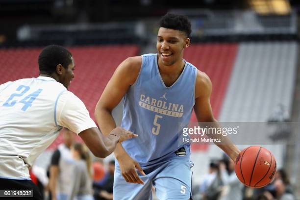 Tony Bradley of the North Carolina Tar Heels practices ahead of the 2017 NCAA Men's Basketball Final Four at University of Phoenix Stadium on March...