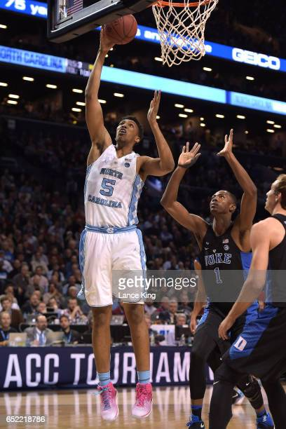 Tony Bradley of the North Carolina Tar Heels puts up a shot against the Duke Blue Devils during the semifinals of the ACC Basketball Tournament at...