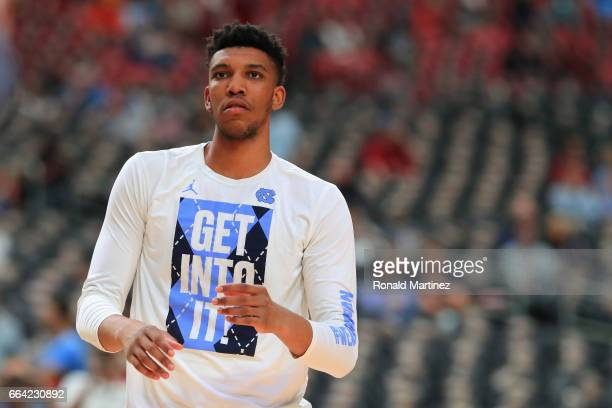 Tony Bradley of the North Carolina Tar Heels warms up before the game against the Gonzaga Bulldogs during the 2017 NCAA Men's Final Four National...
