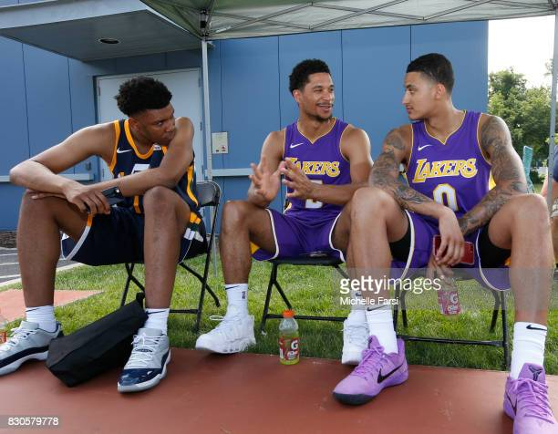 Tony Bradley of the Utah Jazz and Josh Hart Kyle Kuzma of the Los Angeles Lakers behind the scenes during the 2017 NBA Rookie Photo Shoot at MSG...