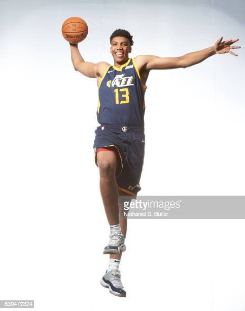 Tony Bradley of the Utah Jazz poses for a photo during the 2017 NBA Rookie Shoot on August 11 2017 at the Madison Square Garden Training Center in...