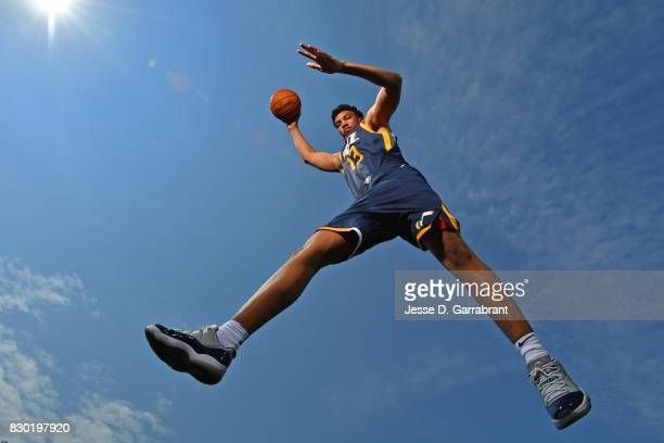 Tony Bradley of the Utah Jazz poses for a portrait during the 2017 NBA rookie photo shoot on August 11 2017 at the Madison Square Garden Training...