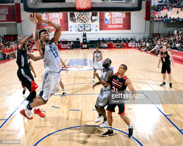 Tony Bradley of the Utah Jazz shoots the ball against the Portland Trail Blazers during the 2017 Summer League on July 8 2017 at Cox Pavillion in Las...