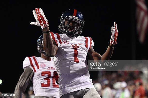 Tony Bridges of the Mississippi Rebels celebrates a touchdown during the first quarter of a game against the Mississippi State Bulldogs at Davis Wade...