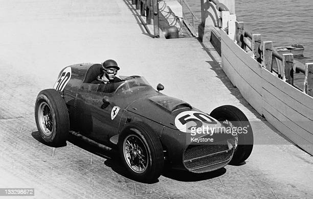Tony Brooks of Great Britain drives the Ferrari Dino 246 during the Grand Prix of Monaco on 10th May 1959 on the streets of the Principality of...
