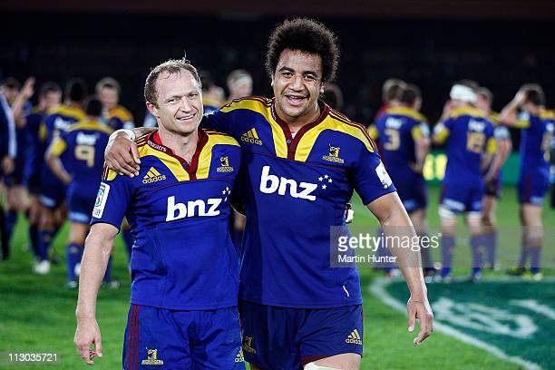 Tony Brown of the Highlanders and Nasi Manu celebrate after the round 10 Super Rugby match between the Crusaders and the Highlanders at Trafalgar...