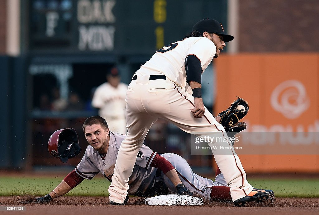 <a gi-track='captionPersonalityLinkClicked' href=/galleries/search?phrase=Tony+Campana&family=editorial&specificpeople=7800014 ng-click='$event.stopPropagation()'>Tony Campana</a> #19 of the Arizona Diamondbacks is caught stealing tagged out by <a gi-track='captionPersonalityLinkClicked' href=/galleries/search?phrase=Brandon+Crawford&family=editorial&specificpeople=5580312 ng-click='$event.stopPropagation()'>Brandon Crawford</a> #35 of the San Francisco Giants in the top of the first inning at AT&T Park on April 10, 2014 in San Francisco, California.