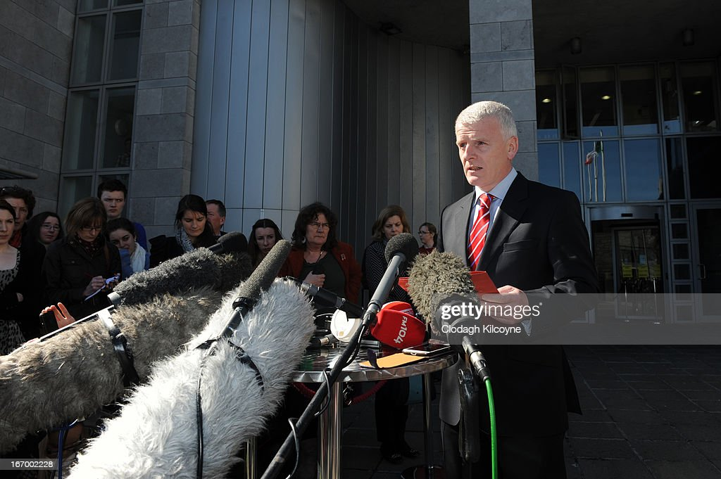 Tony Canavan, chief operating officer at the Galway/Roscommon Hospital Group makes a statement on behalf of the HSE (Health Services Executive) outside Galway City Hall, as the jury in the Savita Halappanavar inquest returned a unanimous verdict of death by medical misadventure against the HSE (Health Services Executive) on April 19, 2013 in Galway, Ireland. The jury heard that Mrs Halappanavar would probably still be alive today if the law had allowed an abortion. Savita Halappanavar was 17 weeks pregnant when admitted to University Hospital Galway on October 21, 2012, with an inevitable miscarriage. The 31 year old died a week later in intensive care from multi-organ failure from septic shock and E.coli, four days after she delivered a dead foetus.