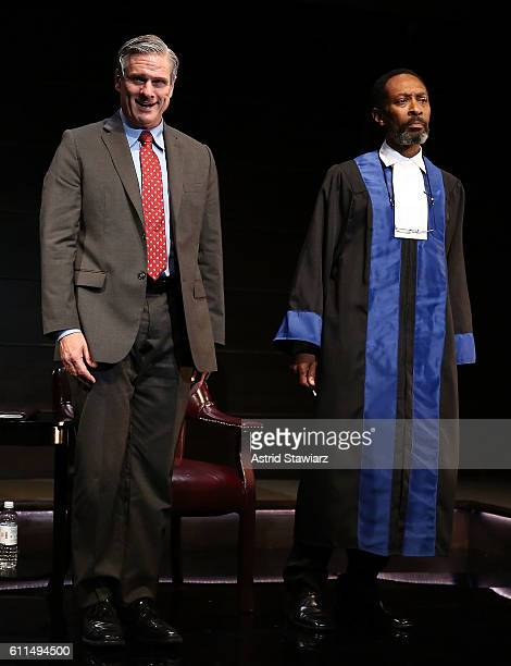 Tony Carlin and Michael Rogers attend 'The Trial Of An American President' Curtain Call at Theatre Row's Lion Theatre on September 29 2016 in New...