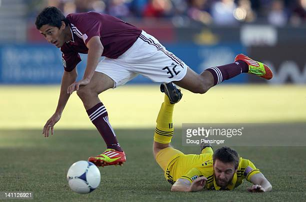 Tony Cascio of the Colorado Rapids and Eddie Gaven of the Columbus Crew battle for control of the ball at Dick's Sporting Goods Park on March 10 2012...