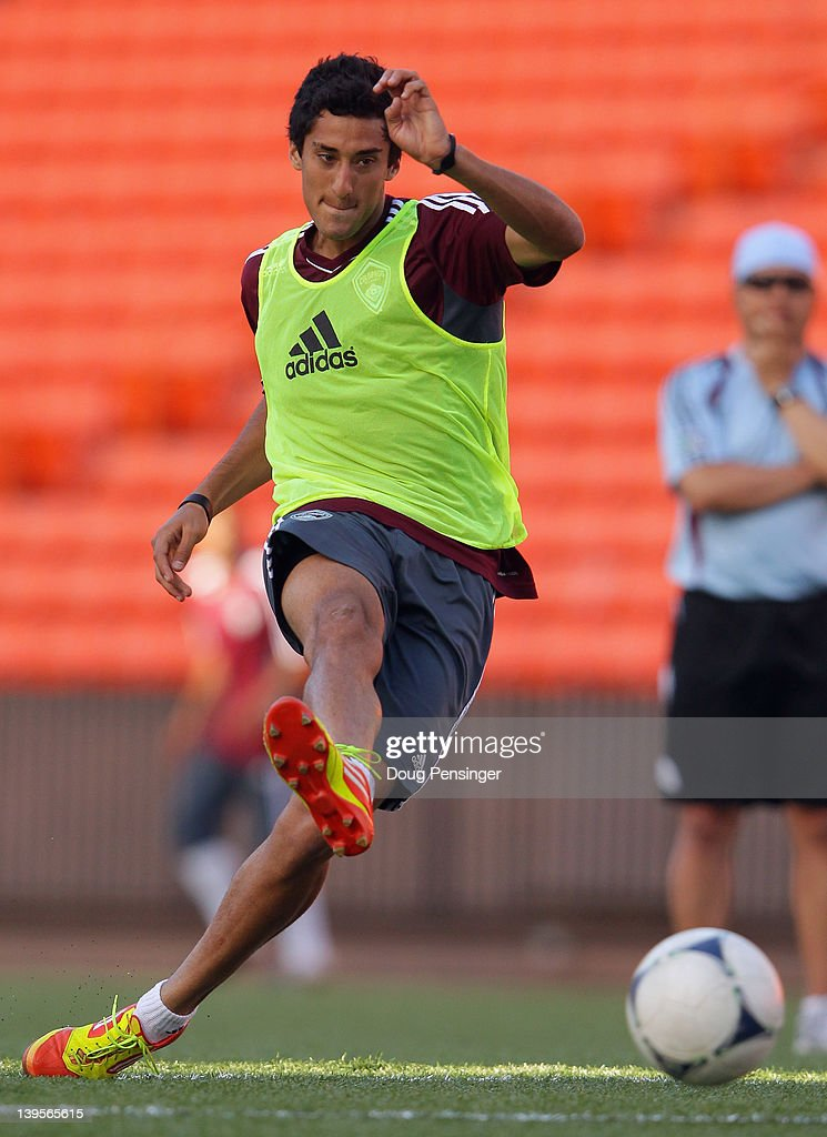 Tony Cascio of the Colorado Rapids takes a shot during a training session at the Aloha Stadium on February 22, 2012 in Honolulu, Hawaii. The Rapids are preparing for the Hawaiian Islands Invitational Soccer Tournament.