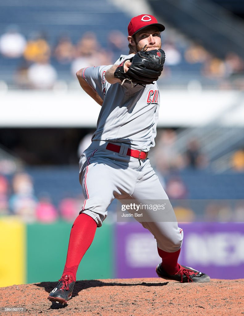 Tony Cingrani of the Cincinnati Reds delivers a pitch during the game against the Pittsburgh Pirates at PNC Park on August 7 2016 in Pittsburgh...