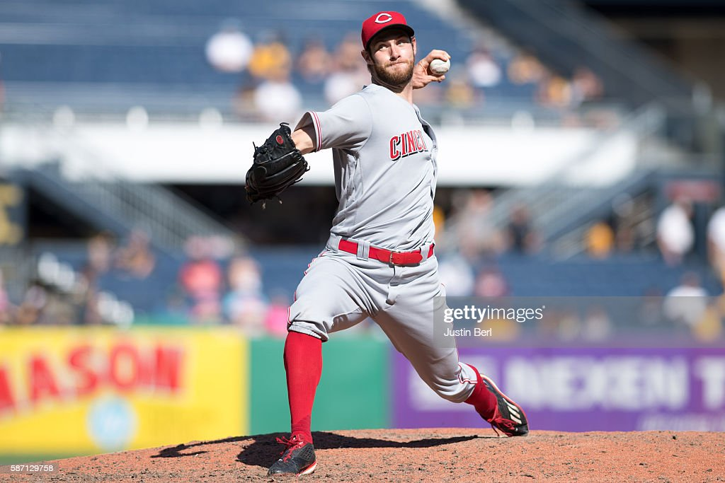Tony Cingrani of the Cincinnati Reds delivers a pitch in the ninth inning during the game against the Pittsburgh Pirates at PNC Park on August 7 2016...