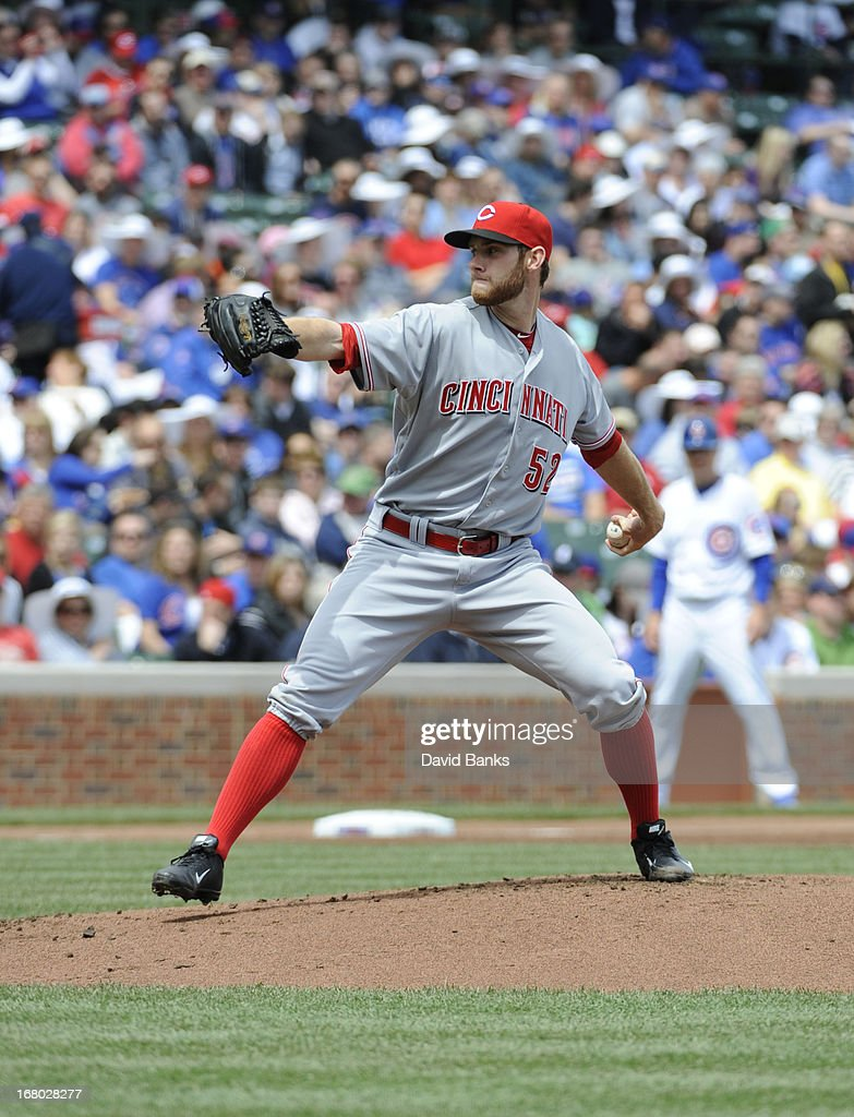 Tony Cingrani #52 of the Cincinnati Reds pitches against the Chicago Cubs during the first inning on May 4, 2013 at Wrigley Field in Chicago, Illinois.