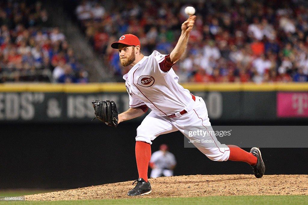 Tony Cingrani of the Cincinnati Reds pitches against the Chicago Cubs in the eighth inning at Great American Ball Park on April 23 2016 in Cincinnati...