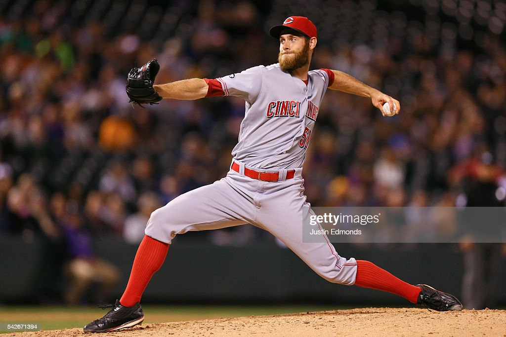 Tony Cingrani of the Cincinnati Reds pitches against the Colorado Rockies at Coors Field on June 1 2016 in Denver Colorado