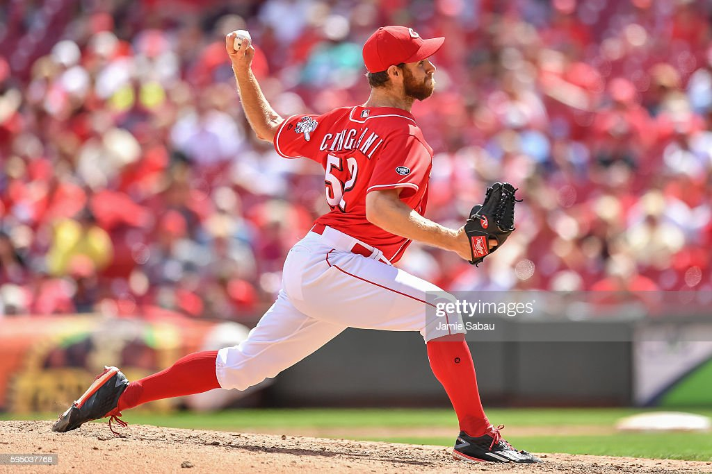 Tony Cingrani of the Cincinnati Reds pitches against the Los Angeles Dodgers at Great American Ball Park on August 21 2016 in Cincinnati Ohio
