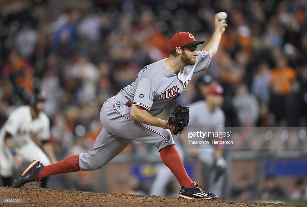 Tony Cingrani of the Cincinnati Reds pitches against the San Francisco Giants in the bottom of the ninth inning at ATT Park on July 25 2016 in San...