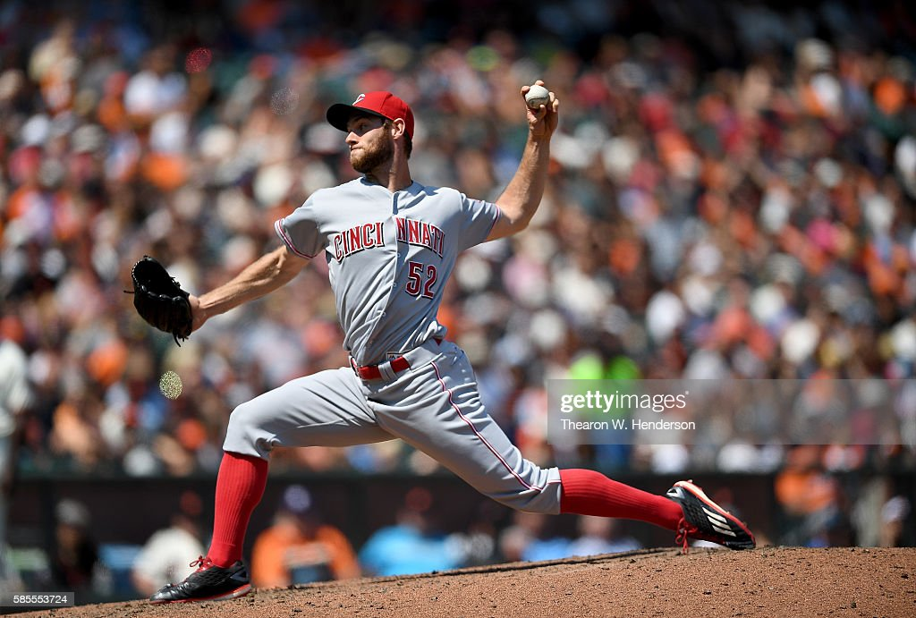Tony Cingrani of the Cincinnati Reds pitches against the San Francisco Giants in the bottom of the ninth inning at ATT Park on July 27 2016 in San...