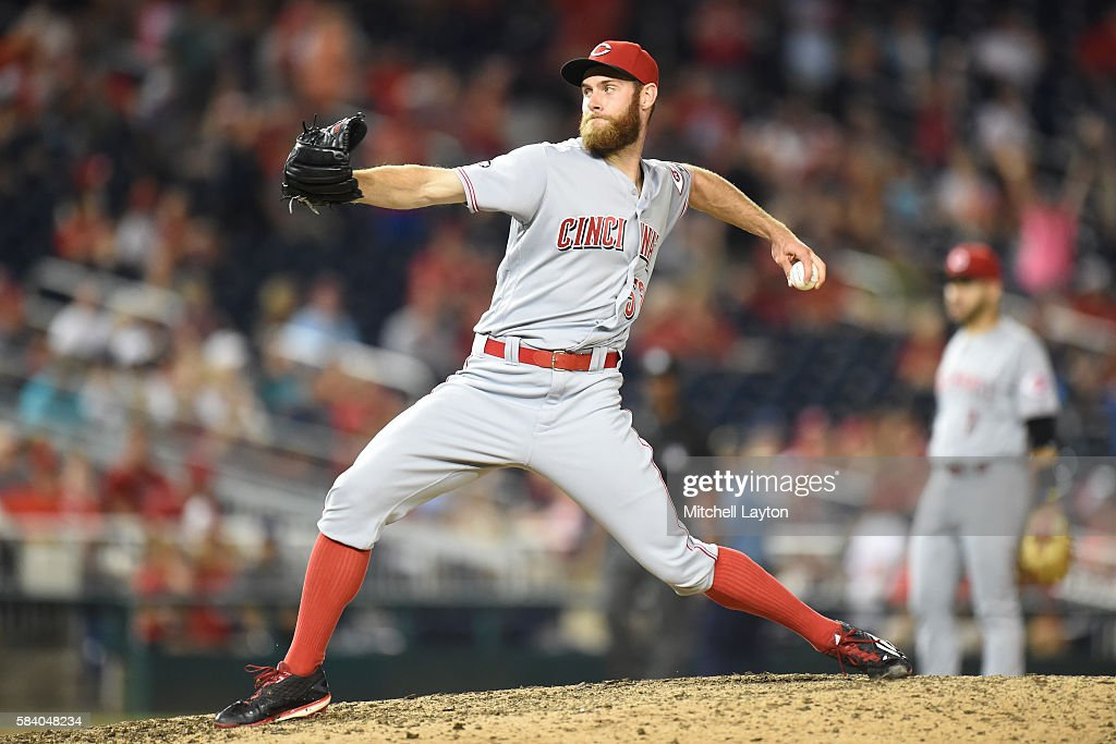 Tony Cingrani of the Cincinnati Reds pitches during a baseball game against the Washington Nationals at Nationals Park on July 1 2016 in Washington...