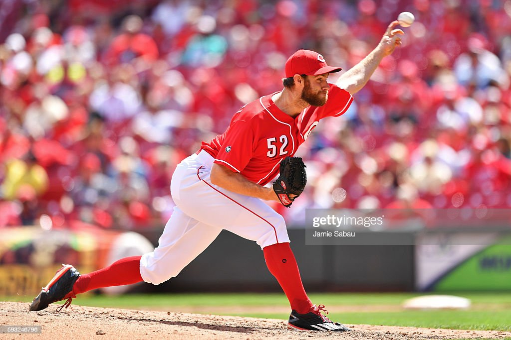 Tony Cingrani of the Cincinnati Reds pitches in the eighth inning against the Los Angeles Dodgers at Great American Ball Park on August 21 2016 in...
