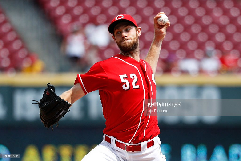 Tony Cingrani of the Cincinnati Reds pitches in the ninth inning against the St Louis Cardinals at Great American Ball Park on August 4 2016 in...