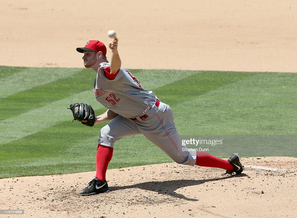 Tony Cingrani of the Cincinnati Reds throws a pitch against the Los Angeles Dodgers at Dodger Stadium on July 28 2013 in Los Angeles California