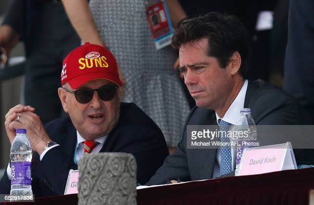 Tony Cochrane Chairman of the Suns and Gillon McLachlan Chief Executive Officer of the AFL look on during the 2017 AFL round 08 match between the...