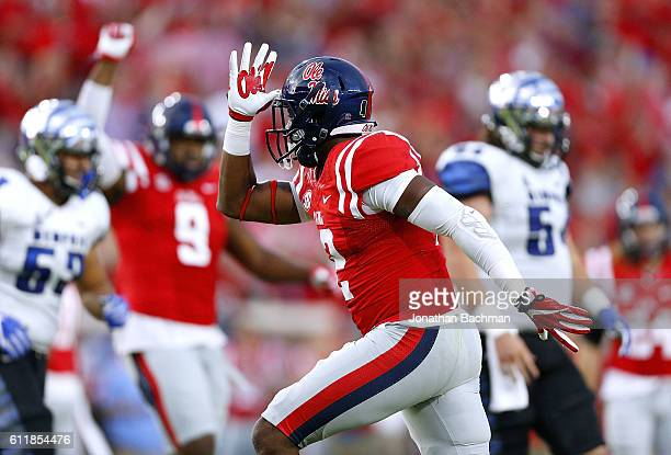 Tony Conner of the Mississippi Rebels celebrates a tackle during the first half of a game against the Memphis Tigers at VaughtHemingway Stadium on...