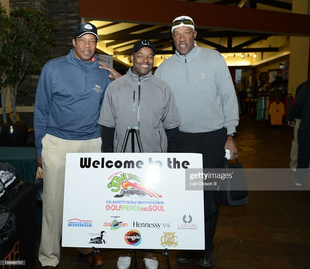Tony Cornelius, Kenard Gibbs and Julius 'Dr. Jay' Erving pose for a photo at the First Annual Soul Train Celebrity Golf Invitational on November 9, 2012 in Las Vegas, Nevada.