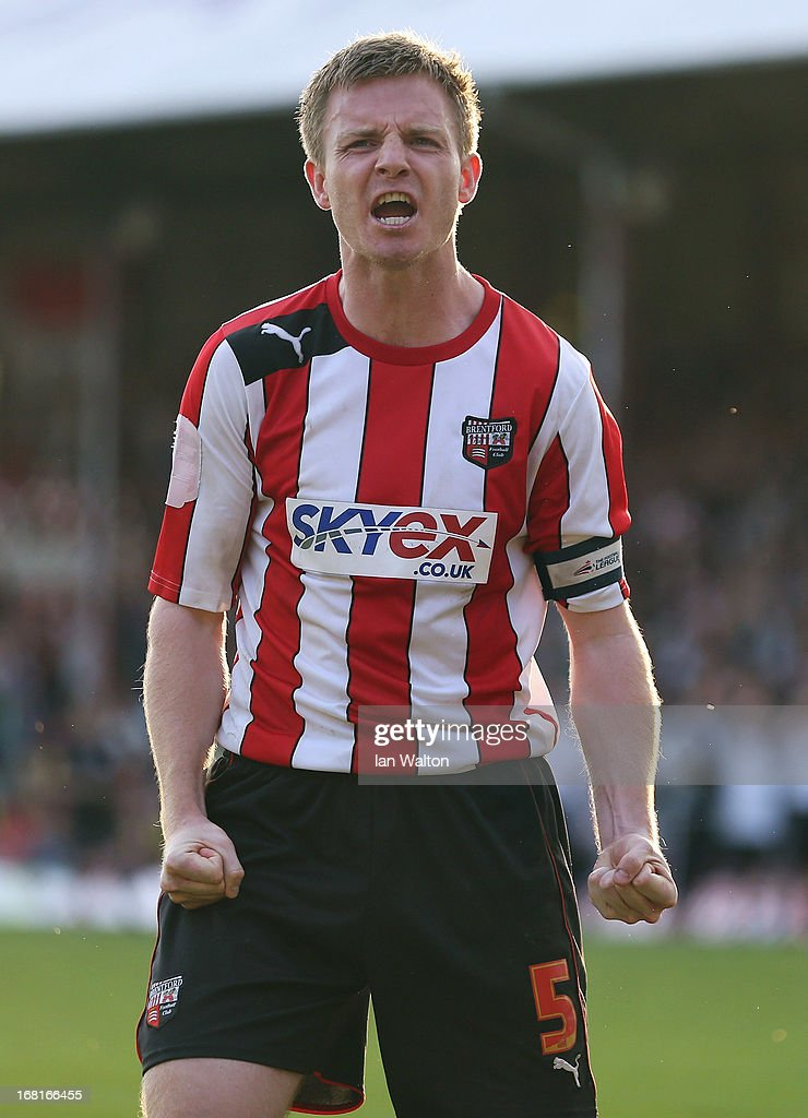 Tony Craig of Brentford celebrates after scoring a penalty in the npower League One Play Off Semi Final, Second Leg match between Brentford and Swindon at Griffin Park on May 6, 2013 in London, England.