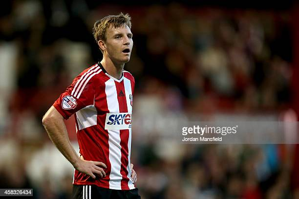 Tony Craig of Brentford looks on during the Sky Bet Championship match between Brentford and Derby County at Griffin Park on November 1 2014 in...
