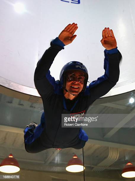 Tony D'Alberto driver of the Hiflex Holden attempts indoor sky diving during previews ahead of the Austin 400 which is round five of the V8 Supercar...
