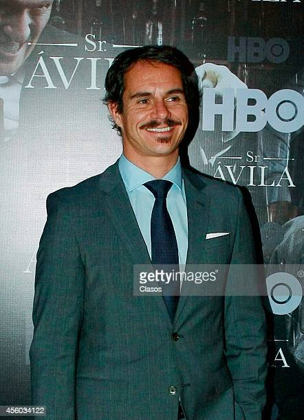 Tony Dalton poses for pictures during the press conference to present the second season of the series Sr Avila on September 23 2014 in Mexico City...