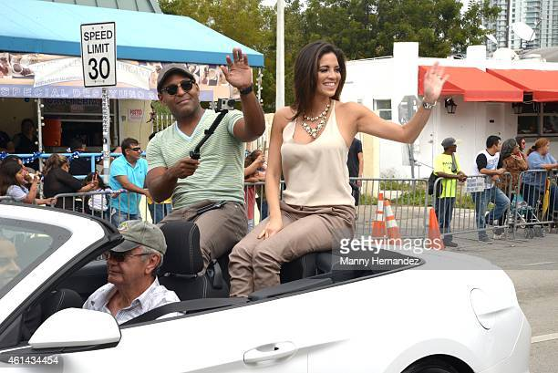 Tony Dandrades and Pamela SilvaConde participates in Three Kings Parade in Miami's Little Havana on January 11 2015 in Miami Florida