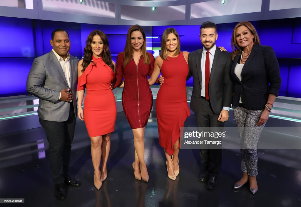 Tony Dandrades, Jackie Guerrido, Michelle Galvan, Pamela Silva, Borja Voces and Cecilia Ramirez Harris are seen on the set of 'Primer Impacto' at Univision's Newsport Studios on March 13, 2017 in Miami, Florida.