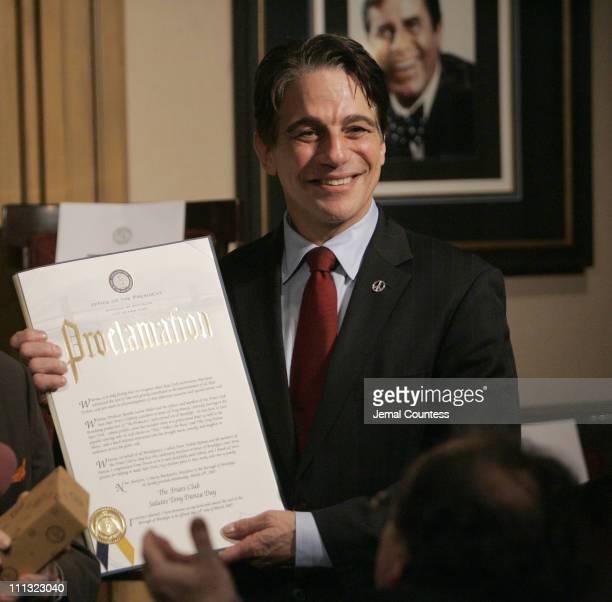 Tony Danza receives a proclamation for Marty Merkowitz Brooklyn Borough President