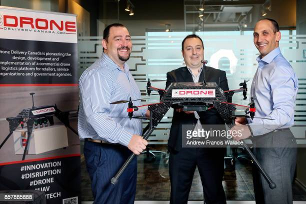 TORONTO ON APRIL 22 Tony Di Benedetto CEO of Drone Delivery Canada poses with Paul Di Benedetto Chief Technology Officer and Greg Colacitti VP...