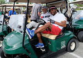 Tony Dovolani and Anthony Anderson attend Celebrity Golf Tournament during Sandals Emerald Bay Celebrity Golf Weekend on June 4 2016 in Great Exuma...