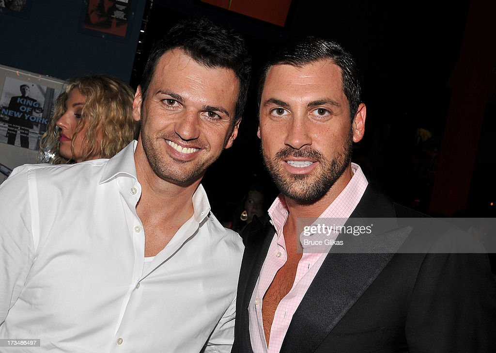 <a gi-track='captionPersonalityLinkClicked' href=/galleries/search?phrase=Tony+Dovolani&family=editorial&specificpeople=4395523 ng-click='$event.stopPropagation()'>Tony Dovolani</a> and Maks Chmerkovskiy pose at the 'Forever Tango' opening night party at Planet Hollywood Times Square on July 14, 2013 in New York City.