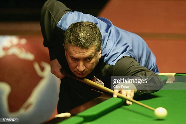 Tony Drago of Malta in action during his first round match against Stephen Lee at the Embassy World Snooker Finals at the Crucible Theatre on April...