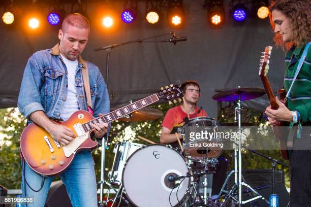Tony Esposito Nick Wilkerson and Hunter Thompson of White Reaper perform during Austin City Limits Festival at Zilker Park on October 15 2017 in...