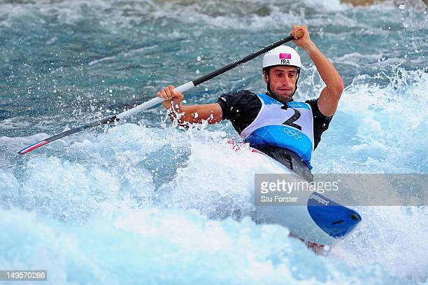 Tony Estanguet of France competes in the Men's Canoe Single Slalom semifinal on Day 4 of the London 2012 Olympic Games at Lee Valley White Water...