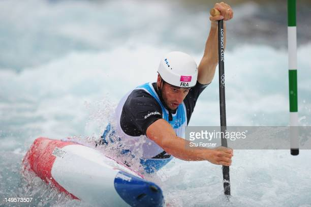 Tony Estanguet of France competes in the Men's Canoe Single Slalom final on Day 4 of the London 2012 Olympic Games at Lee Valley White Water Centre...