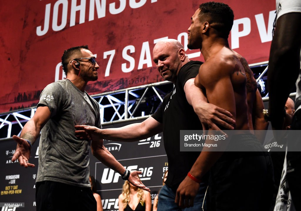 Tony Ferguson and Kevin Lee face off during the UFC 216 weigh-in inside T-Mobile Arena on October 6, 2017 in Las Vegas, Nevada.