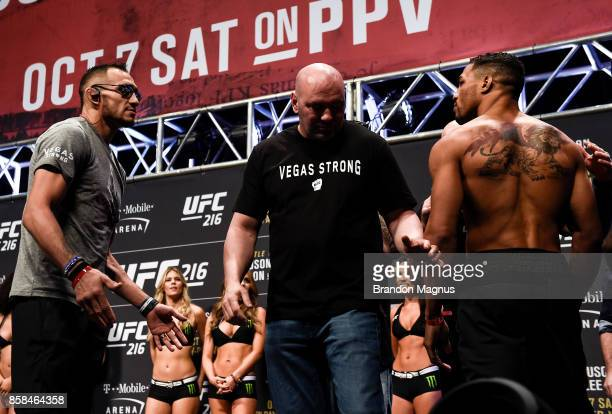 Tony Ferguson and Kevin Lee face off during the UFC 216 weighin inside TMobile Arena on October 6 2017 in Las Vegas Nevada