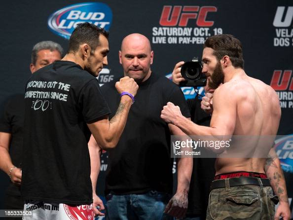 Tony Ferguson and Mike Rio face off during the UFC 166 weighin at the Toyota Center on October 18 2013 in Houston Texas